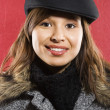 Stock Photo: Woman in flat hat.