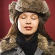 Woman in fur hat. — Stock Photo