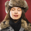 Stock Photo: Woman in fur hat.