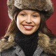 Woman in hat and coat. - Stock Photo