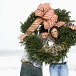 Stock Photo: Young Couple with Wreath