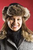 Woman in fur hat. — Stock Photo