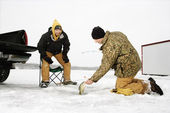 Men Ice Fishing — Stock Photo