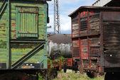 Старые деревянные железнодорожных вагонов — Стоковое фото