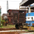 Old railway wagons, rail-motor — Stock Photo