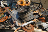 Scrap heap of used automobile parts — Stock Photo