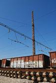 Grungy wagons, railways — Stock Photo