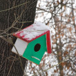 Red green bird house — Stock Photo