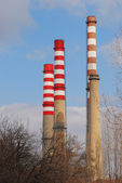 Thermoelectric power plant chimneys — Stock Photo