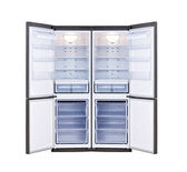 Modern refrigerator with open doors — Stock Photo