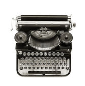 Antique typewriter a white backdrop. — Stock Photo