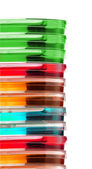 Stack of colorful Petri dishes isolated — ストック写真