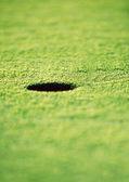 在绿色草地上的高尔夫球洞 — 图库照片