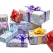 Stock Photo: Colorful gifts box isolated