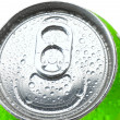 Close Up of a Soda Can with Pull Tab and Condensation — Stock Photo