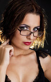 Portrait of beautiful girl in glasses — Stock Photo