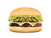 Big cheeseburger isolated on white — Stock Photo