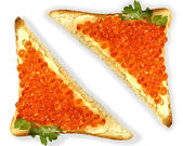 Red caviar sandwich — Stock Photo