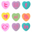 Social Icon Conversation Hearts — Stock Photo