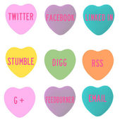Social Media Conversation Hearts — Stock Photo