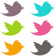 Stock Photo: Colorful Twitter Birds Pack1