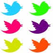 Fluorescent Twitter Birds - Stock Photo