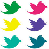 Colorful Twitter Birds Pack2 — Stock Photo