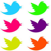 Fluorescent Twitter Birds — Stock Photo