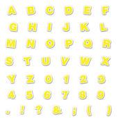 Yellow Sticker Style ABC's & 123's — Stock Photo