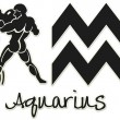 Aquarius Signs - Black Sticker — Stock Photo