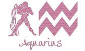 Aquarius znamení - růžové třpytky — Stock fotografie