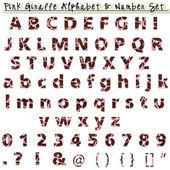 Pink Giraffe Alphabet & Number Set — Stock Photo
