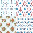Stock Vector: Seamless marine pattern