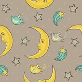 Moon and stars seamless pattern — Stock Vector
