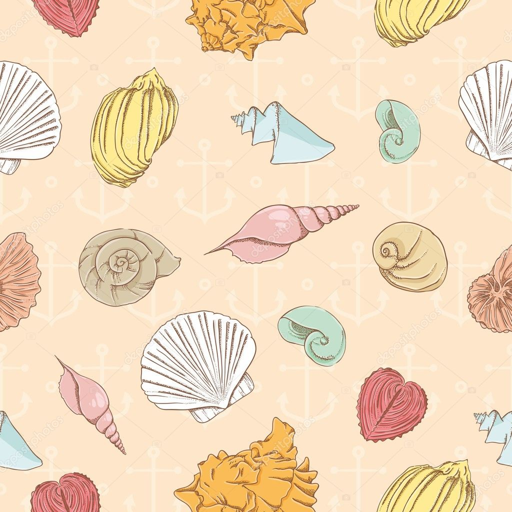 Seamless pattern with marine seashells — Stock Vector #10359842