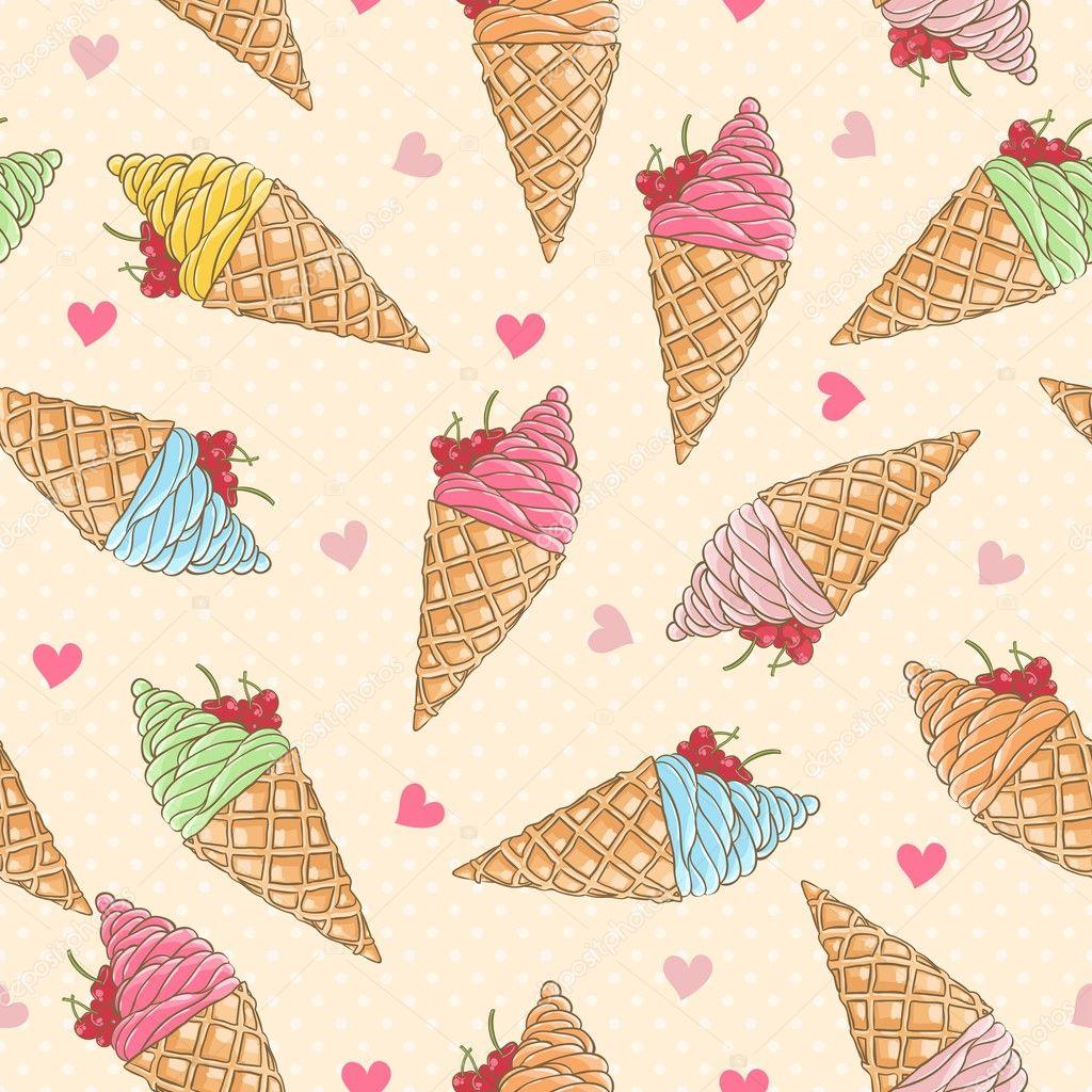 Cute Colorful Ice Cream Seamless Pattern Background: Colorful Ice-cream Seamless Pattern