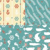 Seamless pattern with marine elements — Stock Vector