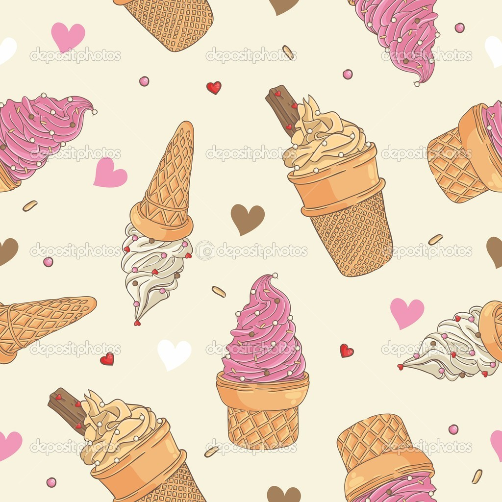 Seamless Wallpaper Pattern With Ice Cream Icons Stock: Ice Cream Seamless Pattern