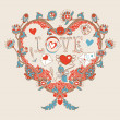 Vector de stock : Floral heart. Heart made of flowers.Doodle Heart