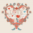 Stockvector : Floral heart. Heart made of flowers.Doodle Heart