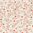Seamless pattern with flowers lotos, vector floral illustration in vintage style - Stok Vektr