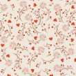 Seamless pattern with flowers lotos, vector floral illustration in vintage style - Imagen vectorial