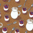 Royalty-Free Stock : Seamless texture with blueberry yogurt into glasses and a pitcher of milk