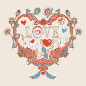 Cuore floreale. cuore fatto di cuore flowers.doodle — Vettoriale Stock