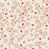 Seamless pattern with flowers lotos, vector floral illustration in vintage style — Stok Vektör