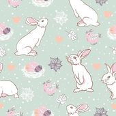 Rabbit easter seamless pattern — Stock Vector
