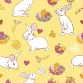 Rabbit and bird easter seamless pattern — Stock Vector