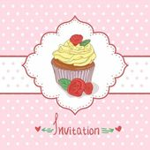 Cupcake invitation background — 图库矢量图片