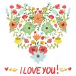 Floral heart. Heart made of flowers - Stock Vector