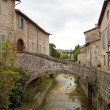 River in the historic center of Gubbio — Stock Photo